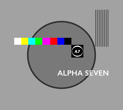 Testcard containing the phrase ALPHA SEVEN